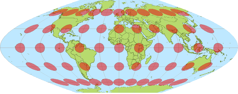 Globe distorted with circles