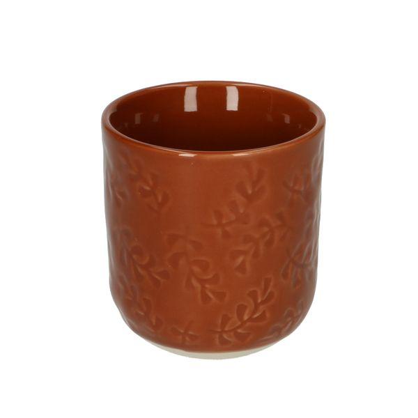 tasse en grès brun à motif feuille dille et kamille