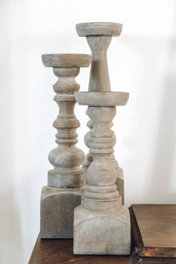 lot de 3 bougeoirs piliers en bois