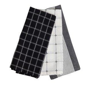 lot de 3 torchons noir blanc et gris