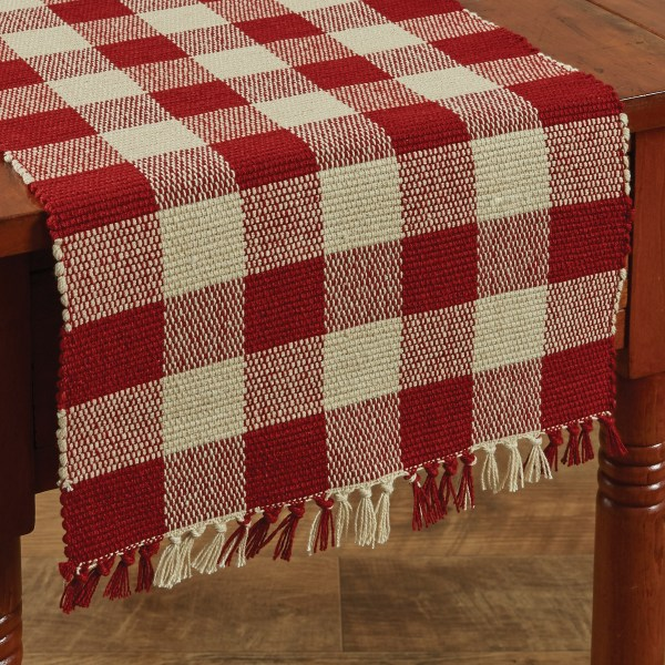 chemin de table à carreaux buffalo check rouge et blanc