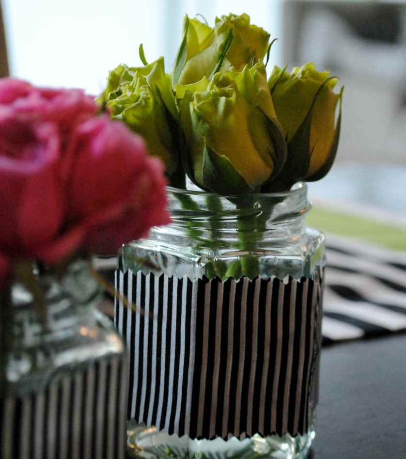 DIY STRIPY FLOWER JARS ♥