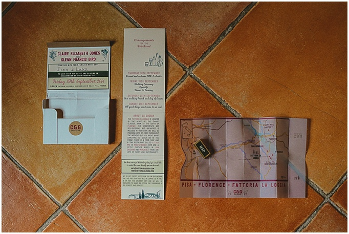 Rustic wedding in Tuscany - Featured on My Lovely Wedding Blog.  - Creative invitations with a map. Stationery for a rustic wedding.