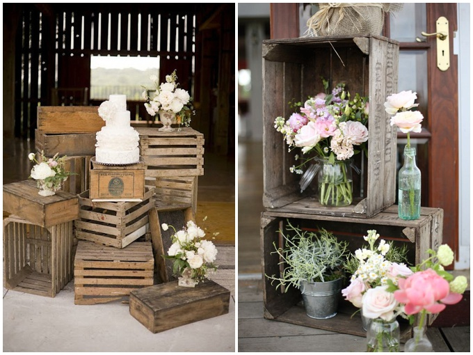 Wedding inspiration - crates and pretty flowers found on Pinterest