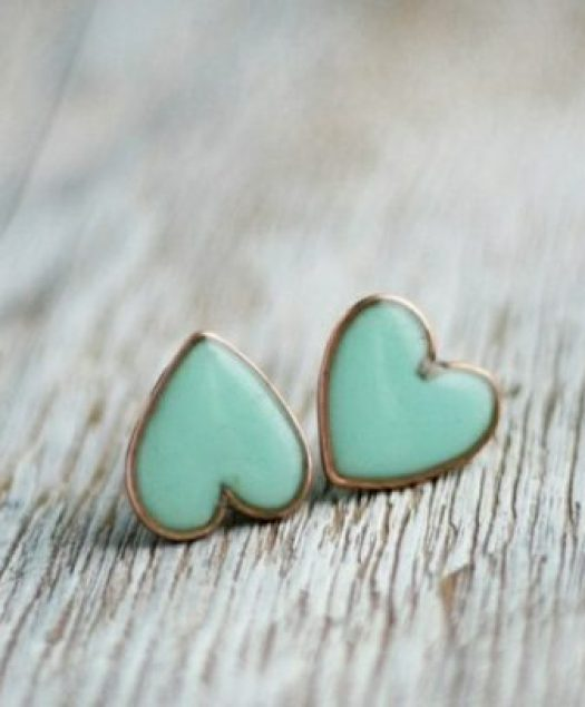 """Mint Heart Earrings"""