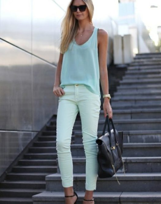 """Mint Skinny Jeans and Tank"""