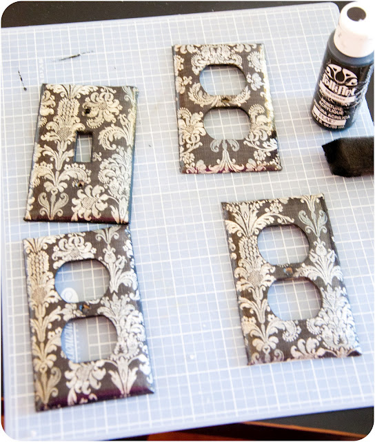 """DIY Wallpaper Switch Plate Covers"""