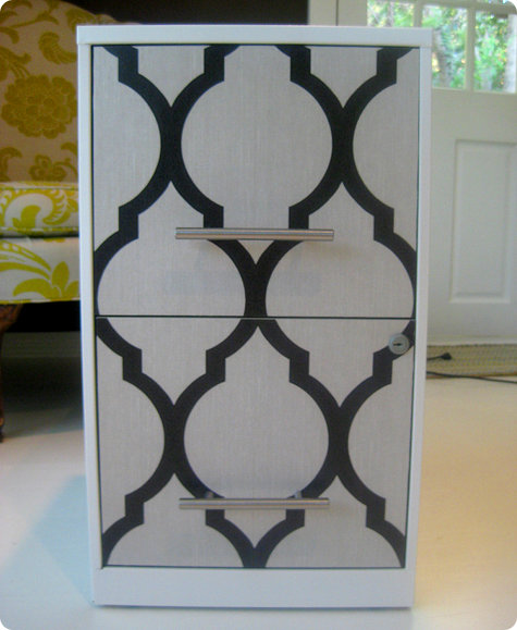 """DIY Wallpaper a File Cabinet"""