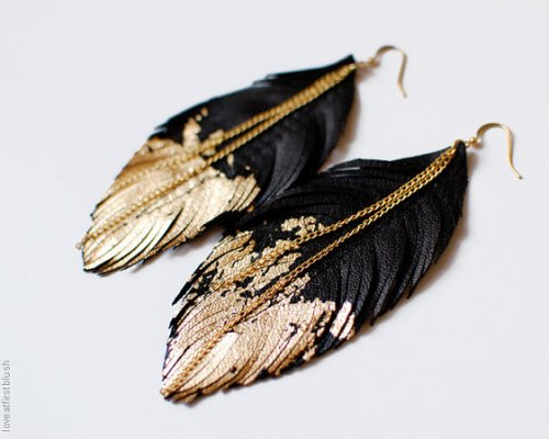 """Leather Feather Earrings"""