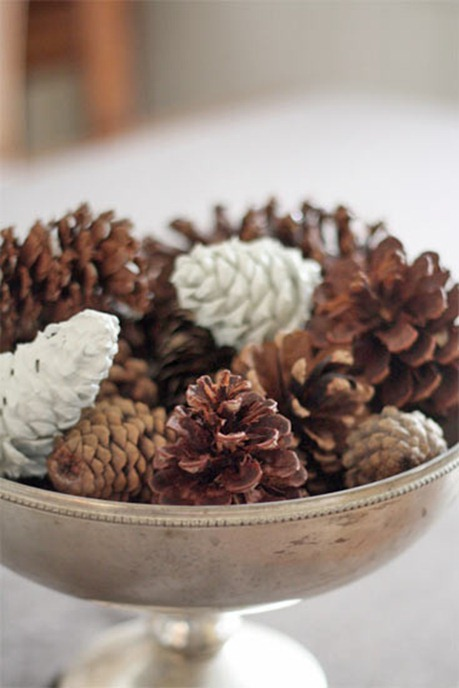 pine cones in silver urn centsational girl Decorate Your Home For Fall