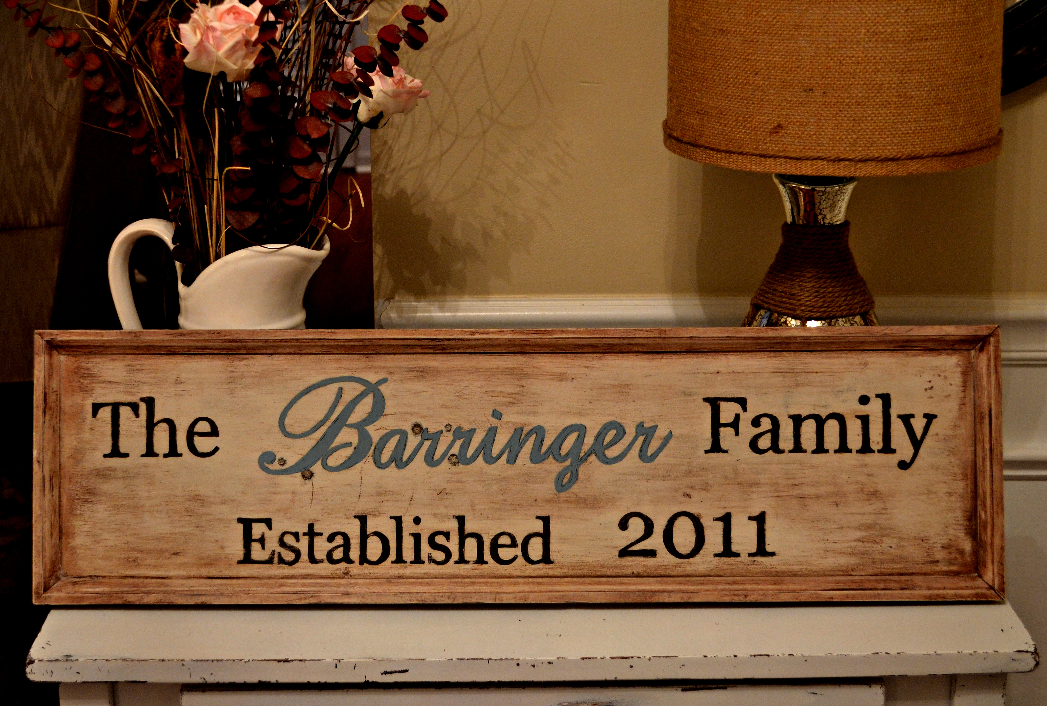 diy wooden family sign my love of style my love of style. Black Bedroom Furniture Sets. Home Design Ideas