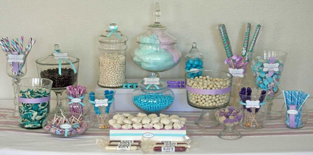 """Blue Purple and White Candy Buffet"""