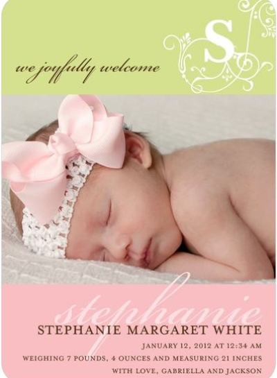 """Perfume Vintage Monogram Birth Announcements"""