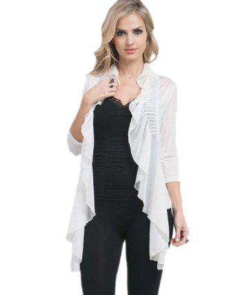 Ruffled Open Front Cardigan