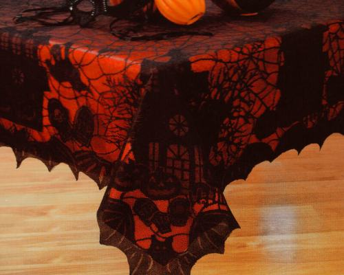 Black lace halloween tablecloth