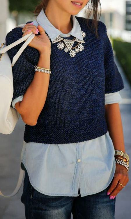 Chambray with cropped sweater