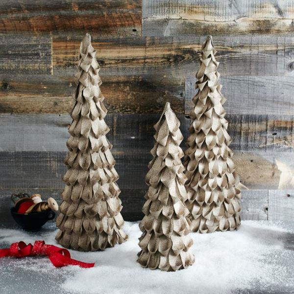 Diy burlap christmas trees my love of style my love of for Burlap ribbon on tree