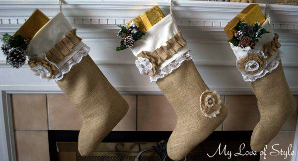 Homemade Burlap Christmas Stockings | Breathtakingly Rustic Homemade Christmas Decorations