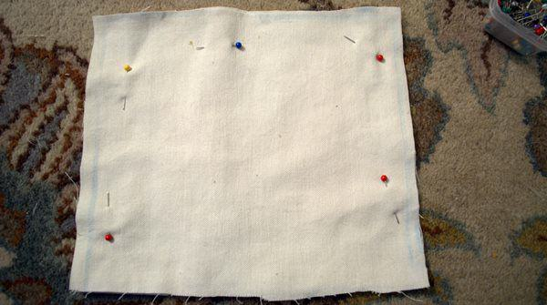 pin and cut fabric for cuff