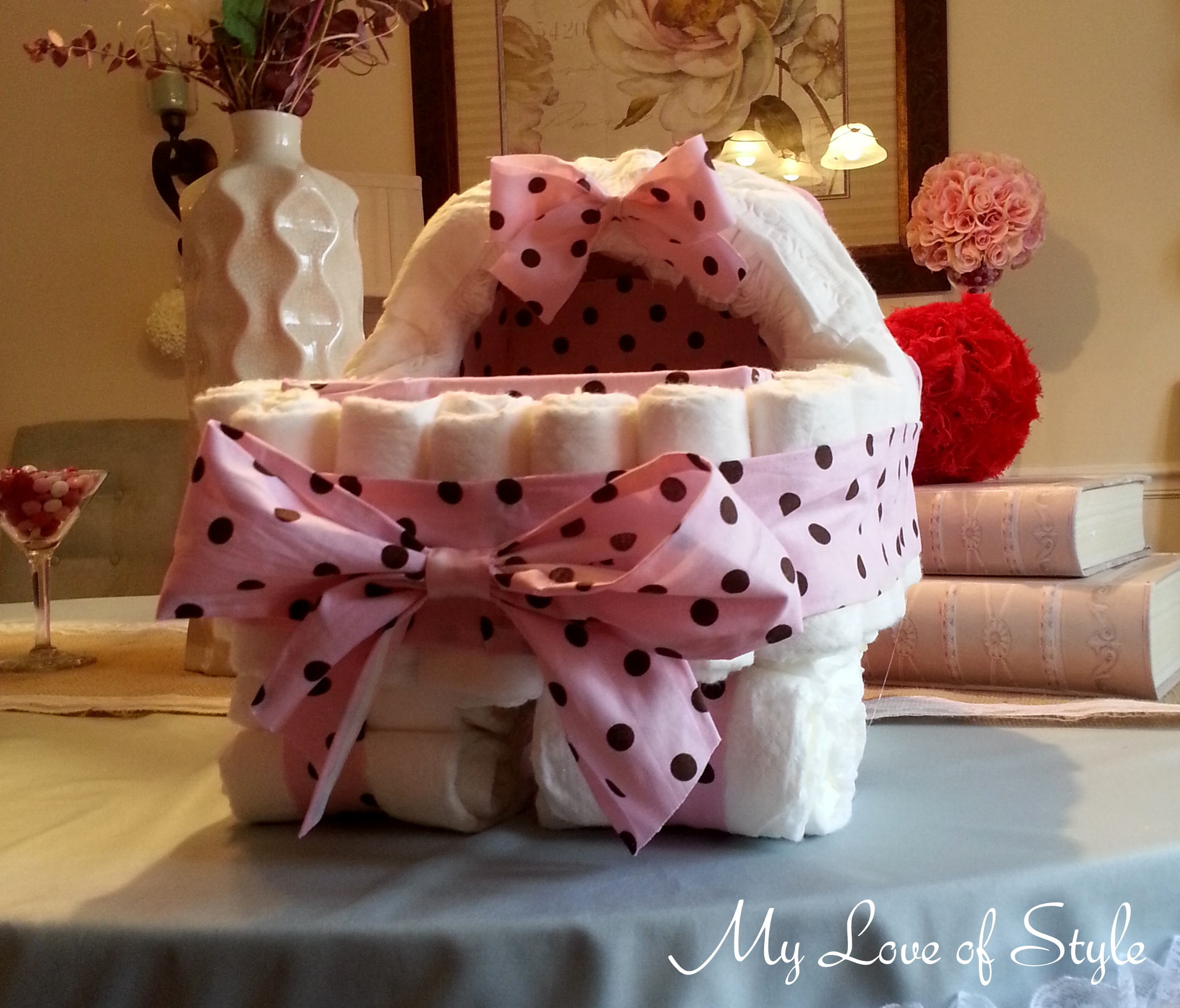 Diy Bassinet Diaper Cake Tutorial My Love Of Style My Love Of Style