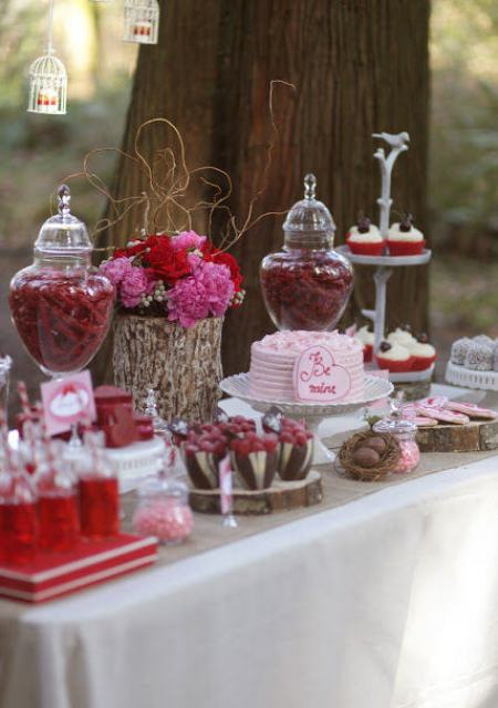 Outdoor Valentines Day Candy Buffet