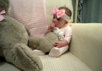 6 Month Photo of Baby Riley in her chair