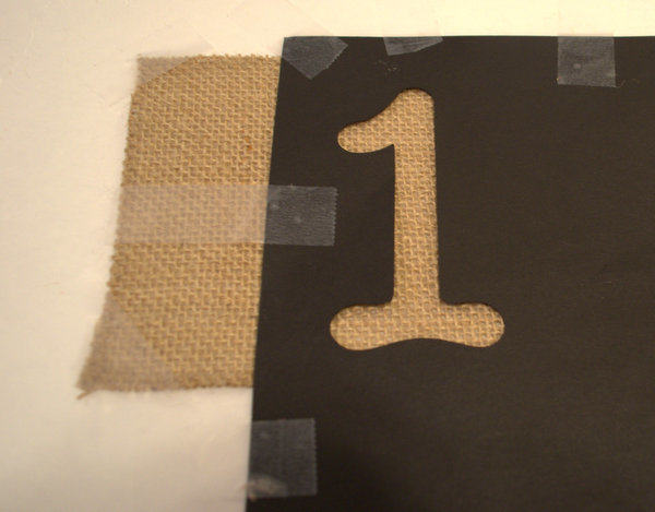 Tape Burlap and Template to a Piece of Cardboard