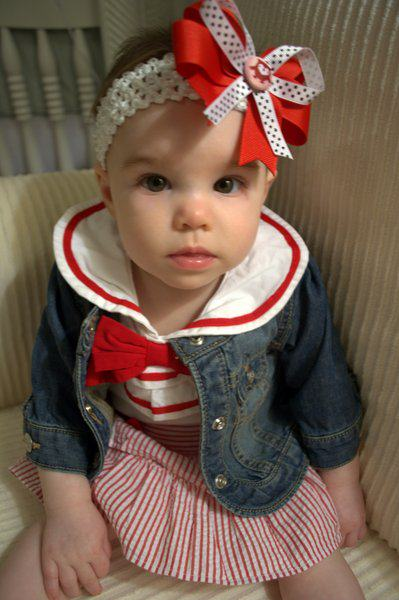 Riley in her nautical outfit