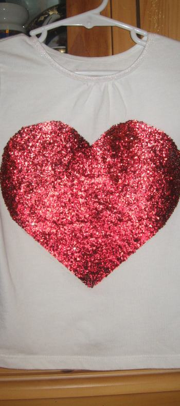 Valentine's Day Red Glittered Heart Shirt