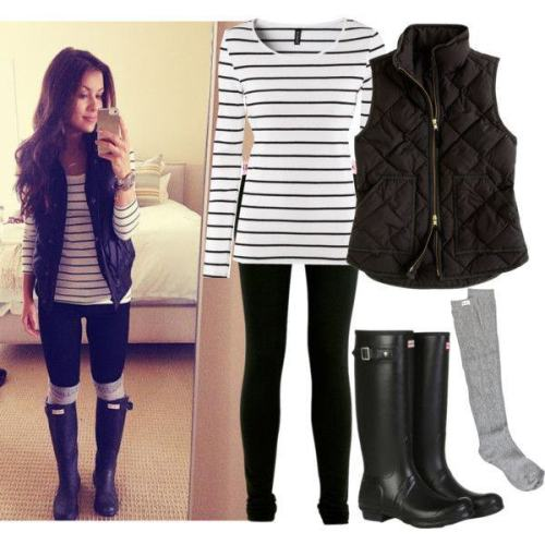 Rain Boots with Leggings, Stripes and Puffer Vest