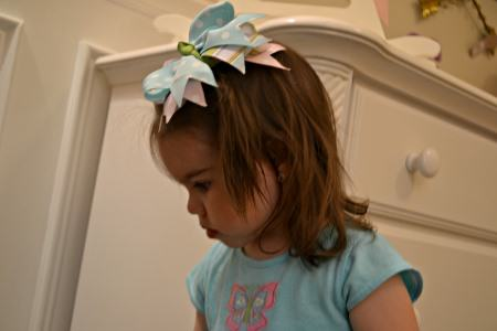 Riley Wearing her New Boutique Hair Bow