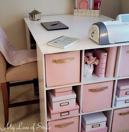 Pink and Gold Kate Spade Inspired Storage Box