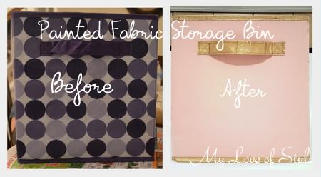 "Painted Fabric Storage Bin ""Before and After"""
