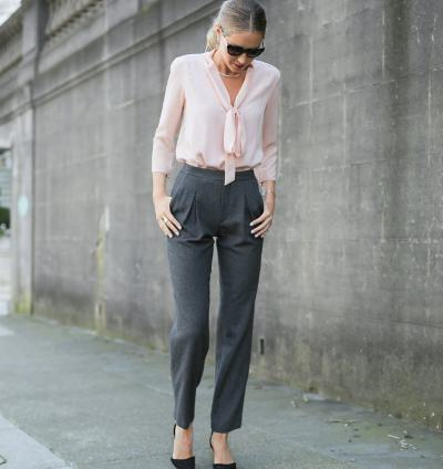 Rose Quartz with Grey Trousers