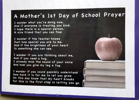 A Mother's 1st Day of School Prayer