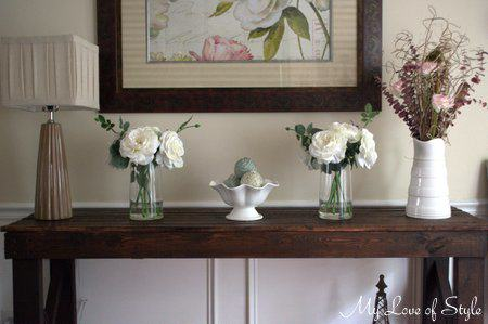 Step by step rustic sofa table tutorial