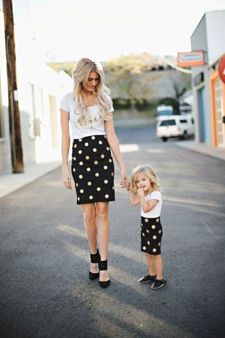 Mommy and Me Black and gold polka dot skirt