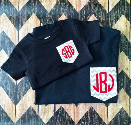 mommy and me monogram tees