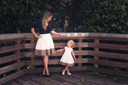 Monochromatic Mommy and Me Dress and Skirt