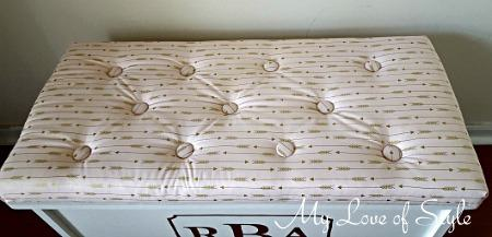 Button Tufted Bench Cushion Tutorial