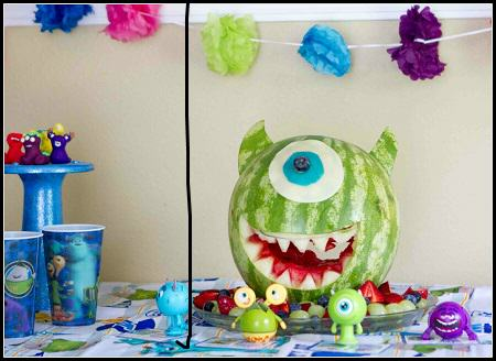 Monster University Watermelon Carving Centerpiece