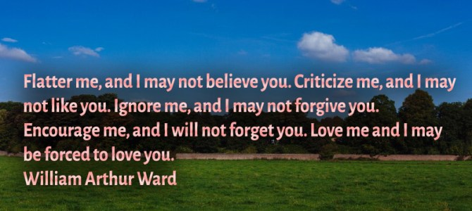 Criticize me, and i may not like you. Love me and i may be forced to love you