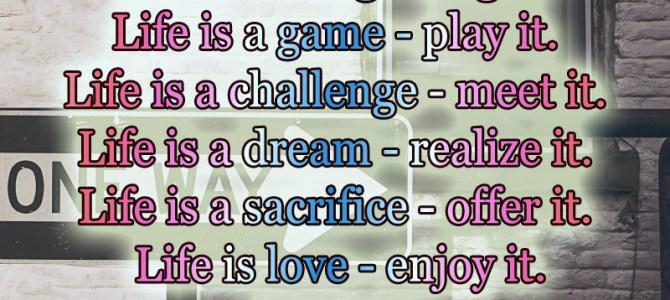 Life is love – enjoy it , life is a challenge – meet it
