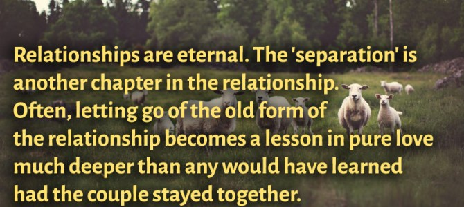Letting go of the old form of the relationship becomes a lesson in pure love