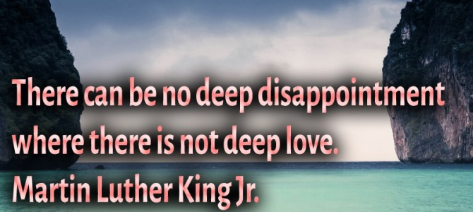 There is no deep disappointment where is no deep love