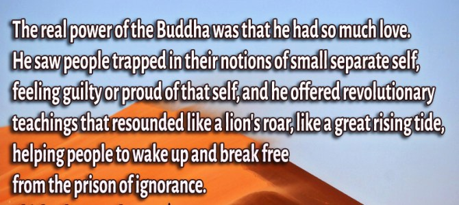 The real strength of the Buddha was that he had a lot of love