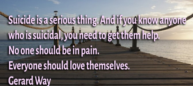 Suicide is a serious thing. No one should be in pain