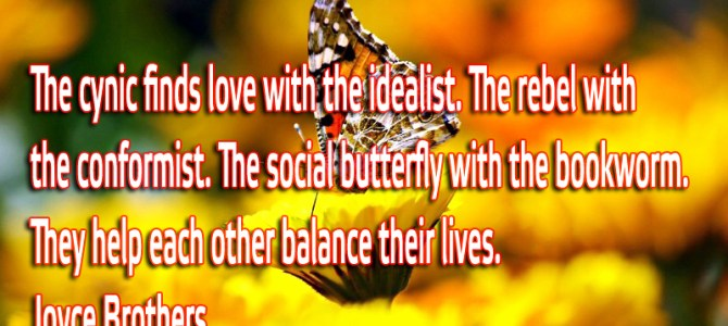 The cynic finds love with the idealist. The rebel with the conformist