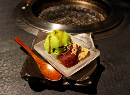 Green tea ice cream with mochi and red bean paste