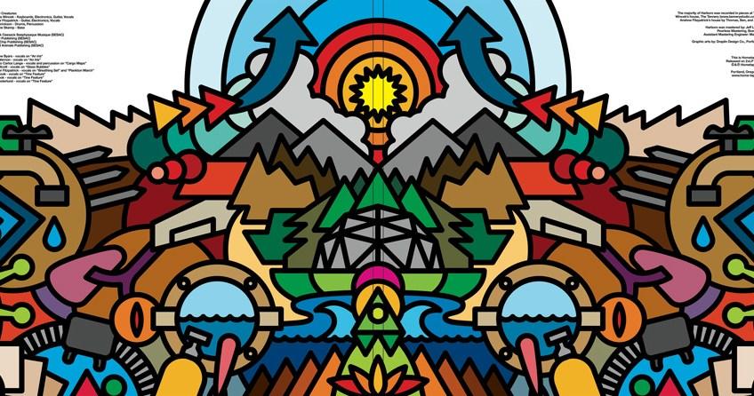 Aaron Draplin, gatefold art for the All Tiny Creatures album Harbors